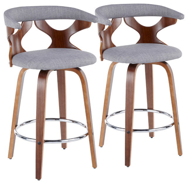 Gardenia Mid-Century Modern Counter Stool, Light Gray Fabric, Chrome, Set of 2