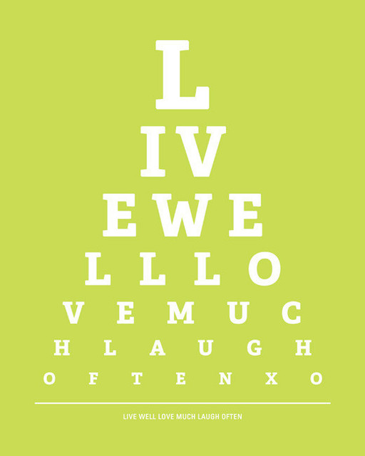 Live Well Love Much Laugh Often Eye Chart Print Citrus