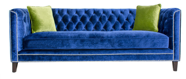 Pasargad Victoria Collecion Tufted Velvet Sofa, Navy