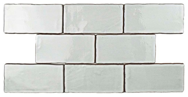"3""x6"" Ealing Ceramic Wall Tiles, Set of 8, Cream"