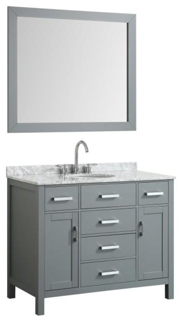 "Hampton 43"" Bath Vanity, Gray With Marble Top, Carrara White/white Basin/mirror."