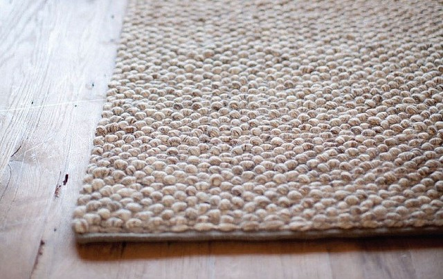 Thick Knotted Wool Rug Beige Modern By Linie Scandinavian Area Rugs