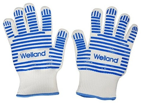 Grilling Cooking Baking Blue Silicone Gloves