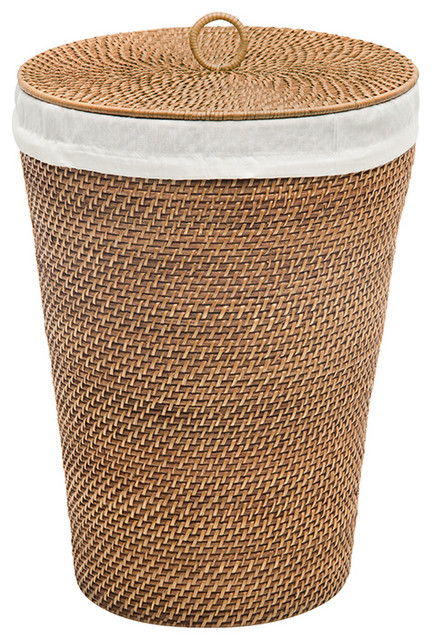 Laguna Round Rattan Hamper With Liner Compact Size Honey Bown