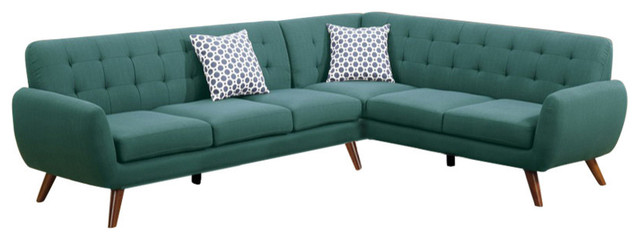 Polyfiber 2-Piece Sectional With Tufted Back And Cushion Blue.