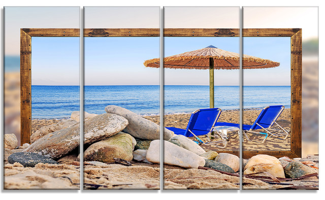 Metal Umbrella Wall Decor : Quot framed beach with chairs umbrella metal wall art