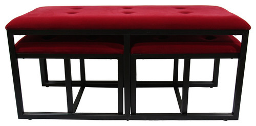 20.5H Red Suede Tufted Metal Bench With  2 Seatings