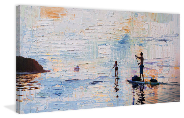 """""""dusk Paddling"""" Painting Print On Wrapped Canvas, 60""""x30""""."""