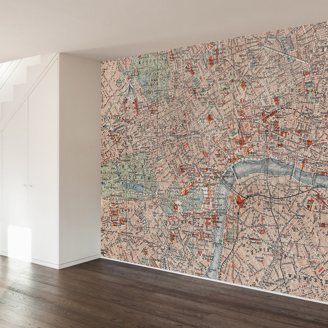 Map Wall Mural londoner map wall mural decal - contemporary - wall decals -