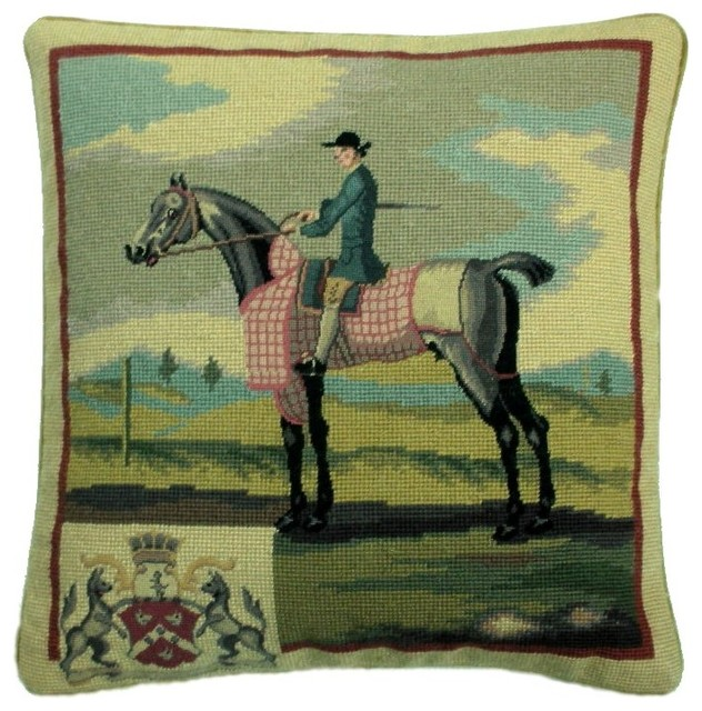 Horse and Rider With Crest Petit Point Pillow, Blue