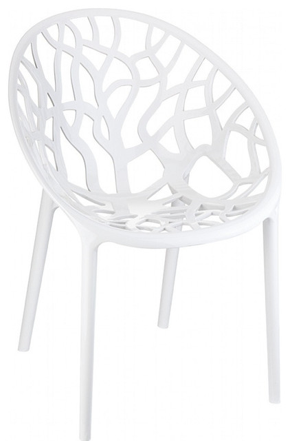 Crystal Polycarbonate Modern Dining Chair Glossy White, Set Of 2  Contemporary Dining Chairs