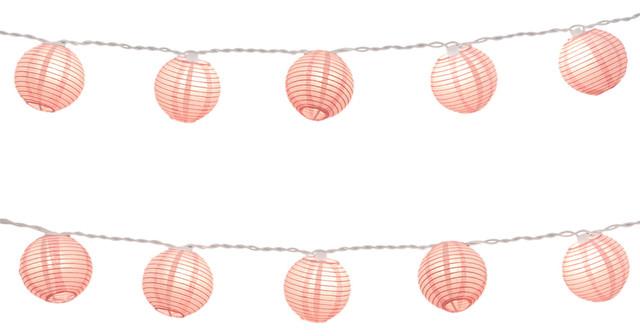 Lumabase Electric String Light Round Paper Lanterns Pink, Set Of 10.