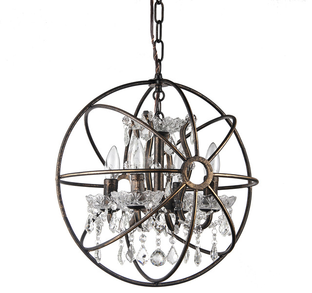 Pasadena Cage Crystal Chandelier, Antique Bronze - Pasadena Cage Crystal Chandelier, Antique Bronze - Contemporary