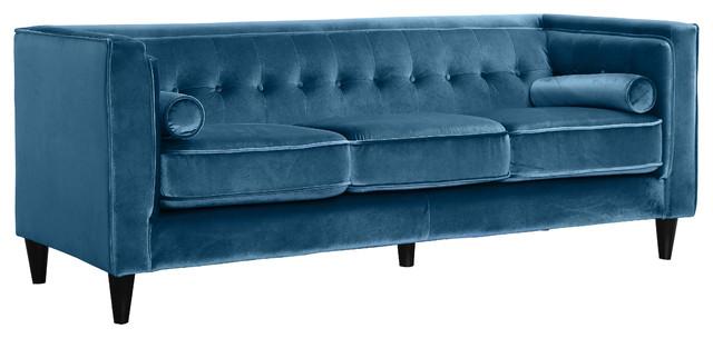 Taylor Velvet Sofa, Light Blue