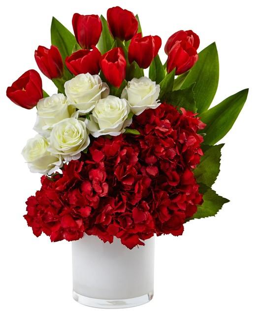 Artificial Flowers Tulip Rose And Hydrangea Arrangement Silk