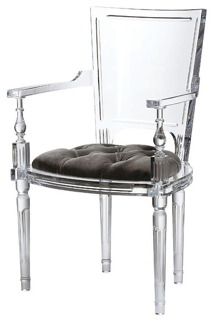 Marilyn Acrylic Arm Chair, Ghost Clear Plastic Dining Chair, Grey Tufted  Seat   Traditional   Dining Chairs   By Mod Space Furniture