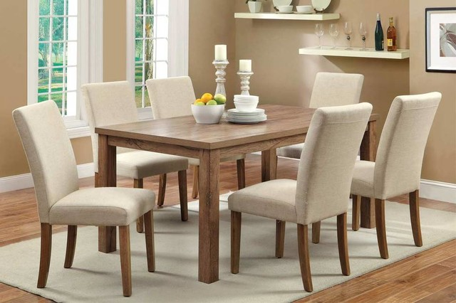 Delicieux 7 PC Light Oak Wood Dining Set Glass Top Chairs Ivory Fabric Seat