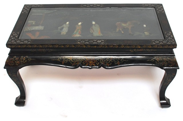Chinese Black Lacquer Folding Coffee Table