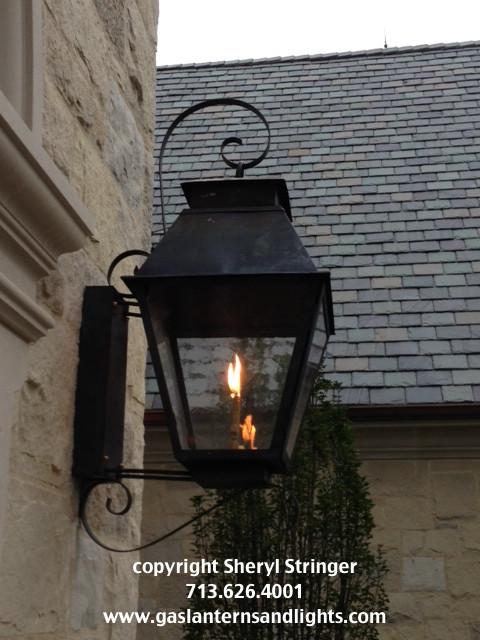 Sheryl's Veronica Style Gas Lantern with Dark Patina Finish