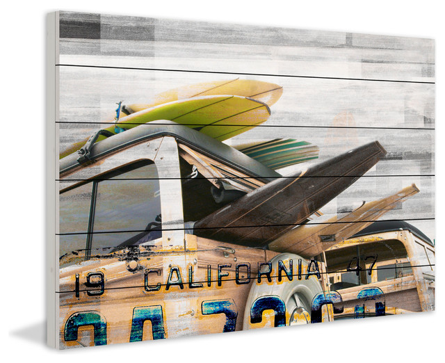 """cali Day"" Print On White Wood, 36""x24""."
