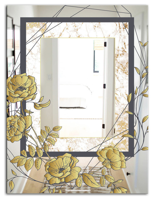 Designart Gold Botanical Blooming 3 Traditional Vanity Mirror Contemporary Bathroom Mirrors By Design Art Usa