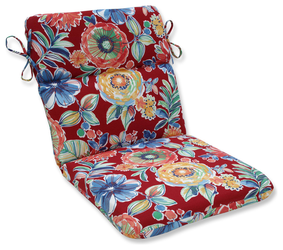 Outdoor/Indoor Colsen Berry Rounded Corners Chair Cushion