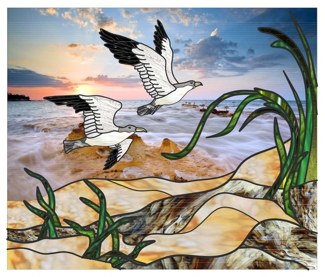 "Ocean Seagulls Privacy Window Film, 45""x36""."