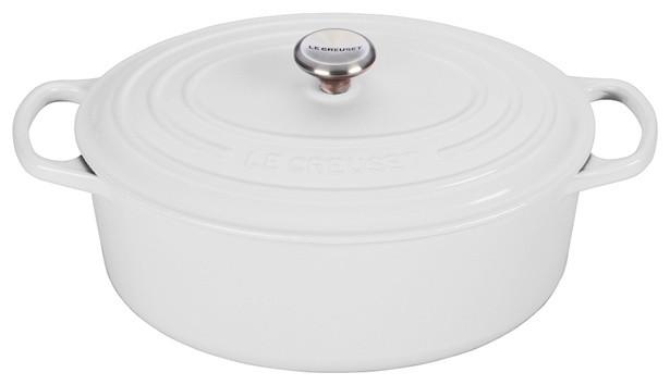 Le Creuset 5-Quart, Signature Oval Dutch Oven, White.