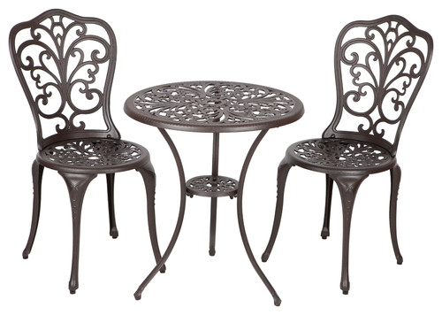 Antique Bronze Cast Aluminum 3 Piece Bistro Set, Faustina