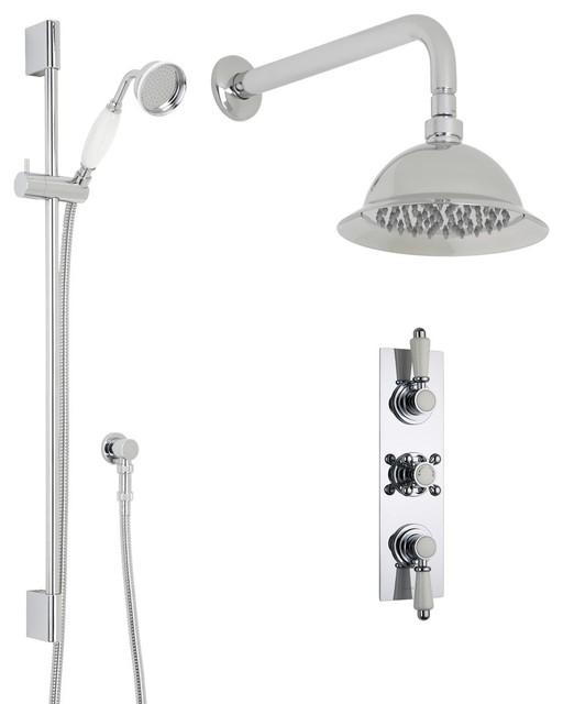 "Traditional Rose Shower System Set in Chrome - 8"" Overhead, Rail Kit & Handspray"