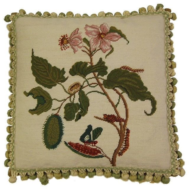Morning Glory Petit Point Pillow, Butterfly.