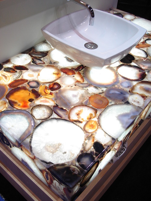 Semiprecious Gemstone Surfaces contemporary bathroom countertops
