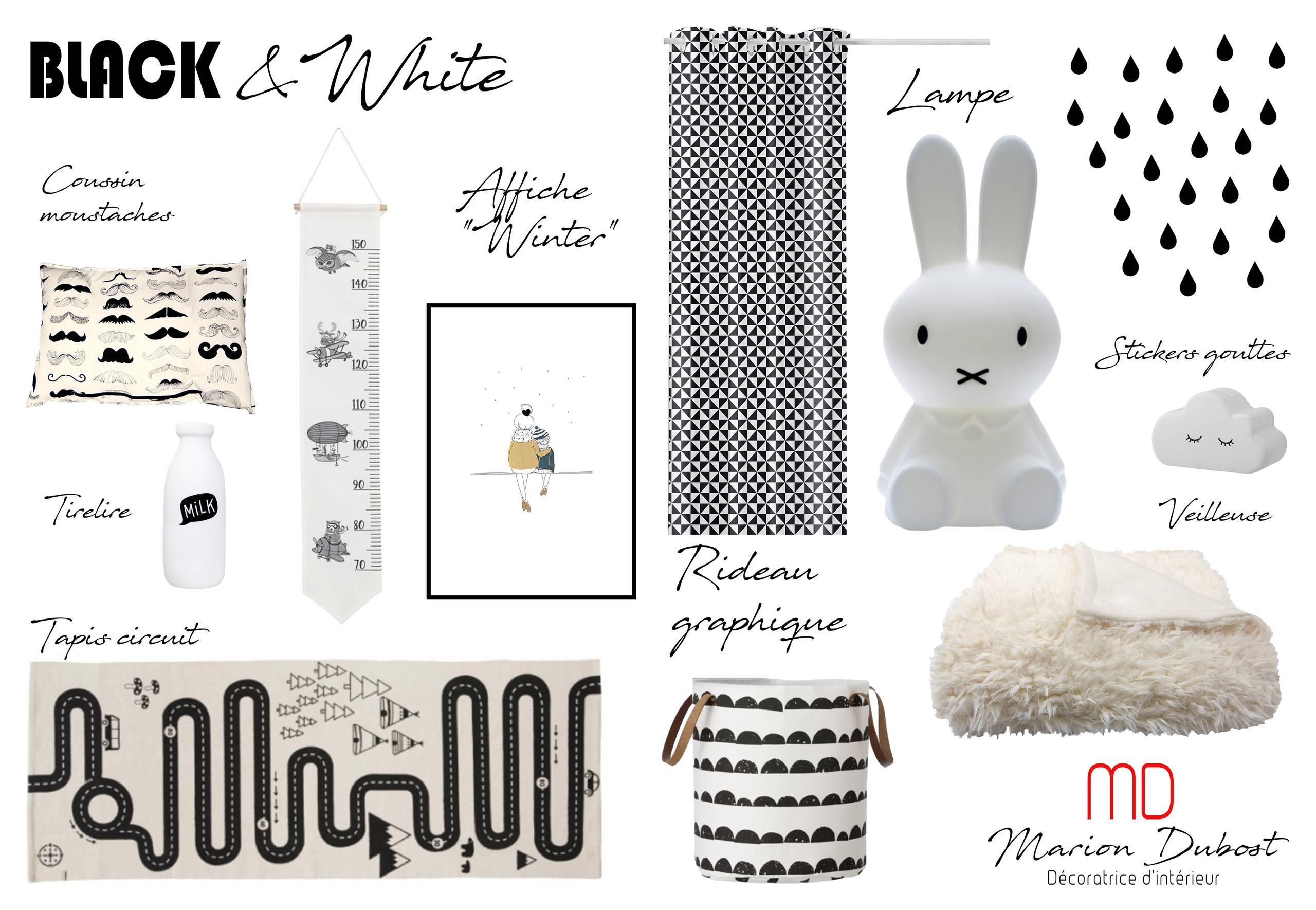 Planche chambre bébé noire et blanche
