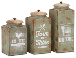 Farmhouse lidded canisters 3 piece set farmhouse for Hearth and home designs canister set