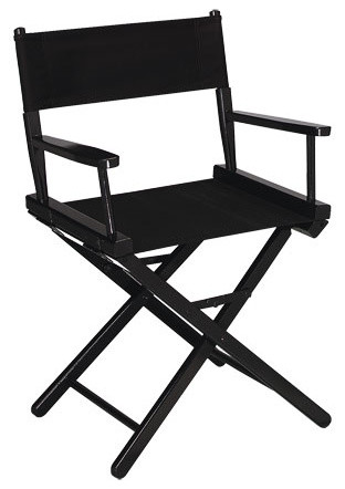 Gold Medal 18 Black Contemporary Directors Chair, Black Canvas.