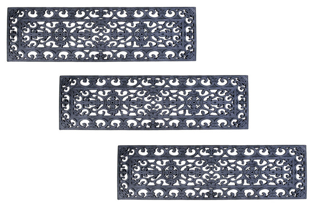 fleur de lys stair tread recycled rubber doormat set of 3 mats