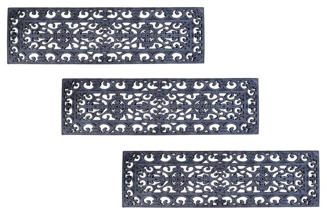 Fleur De Lys Stair Tread Recycled Rubber Doormat (set Of 3 Mats).