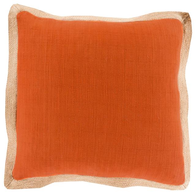 Jute Flange Pillow 18x18x4 Farmhouse Decorative Pillows By