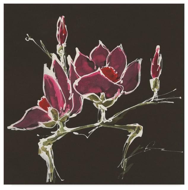 Global Gallery Chris Paschke Magnolia on Black II Canvas Artwork 24 x 24
