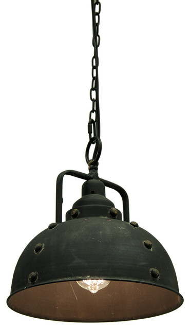 Vintage Industrial Rustic Blackened Metal Farmhouse Pendant Light.
