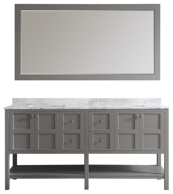 "Double Vanity Bathroom Houzz florence 72"" double vanity, carrara white marble top"