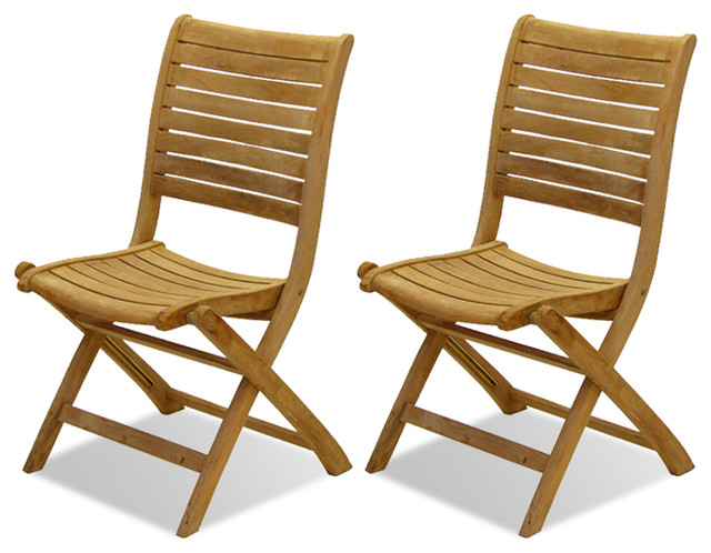 Folding Chair Set of 2 Transitional Outdoor Folding Chairs by ShopLadder