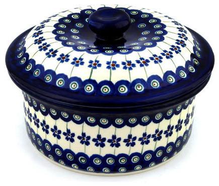 "Polmedia Polish Pottery 8"" Stoneware Dish With Cover."