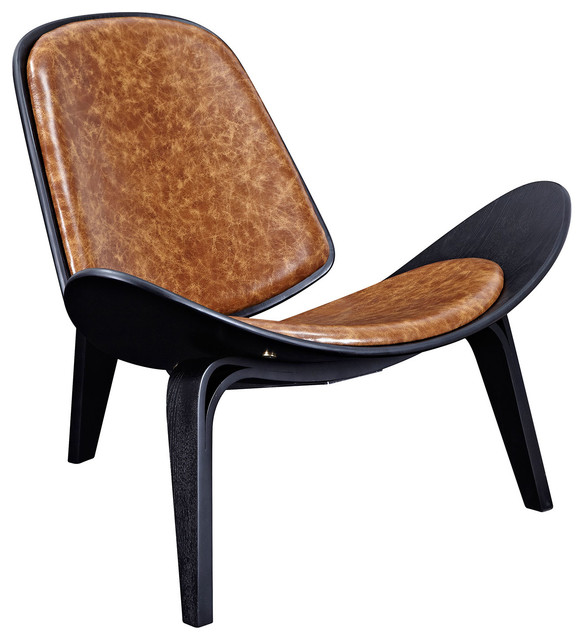 Shell Leather Lounge Chair Mid Century Modern Black  : midcentury armchairs and accent chairs from www.houzz.com size 584 x 640 jpeg 69kB