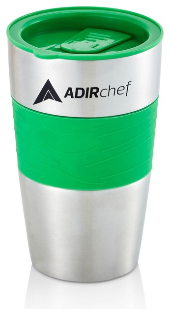 Adirchef Crystal Blue 15 Oz. Stainless Steel Travel Mug, Green.