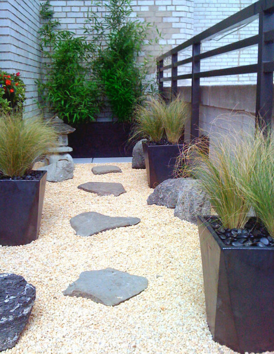 Manhattan Roof Garden Terrace Deck Container Plants Zen Rock