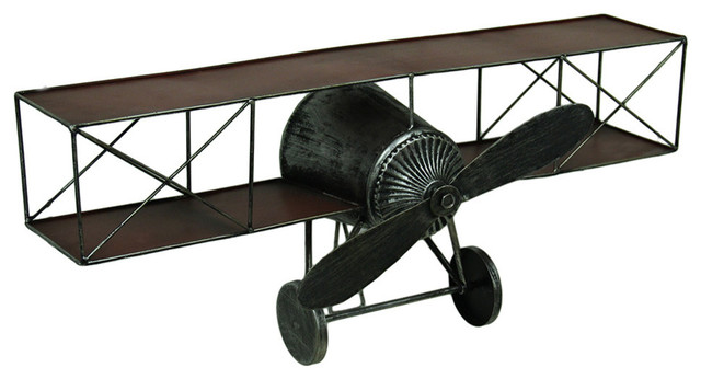 Decorative Metal Wall Shelves vintage biplane decorative metal wall shelf - contemporary