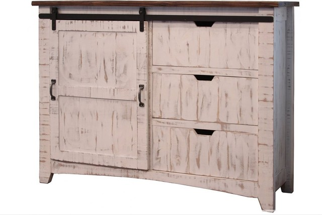 Rustic Style Solid Pine White Wood Console Sideboard 3 Drawers