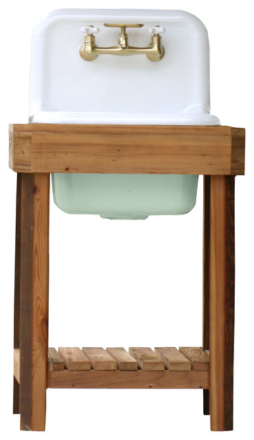 Reclaimed Wood Utility Farm Sink Stand Cast Iron Porcelain High Back Stand  Aqua