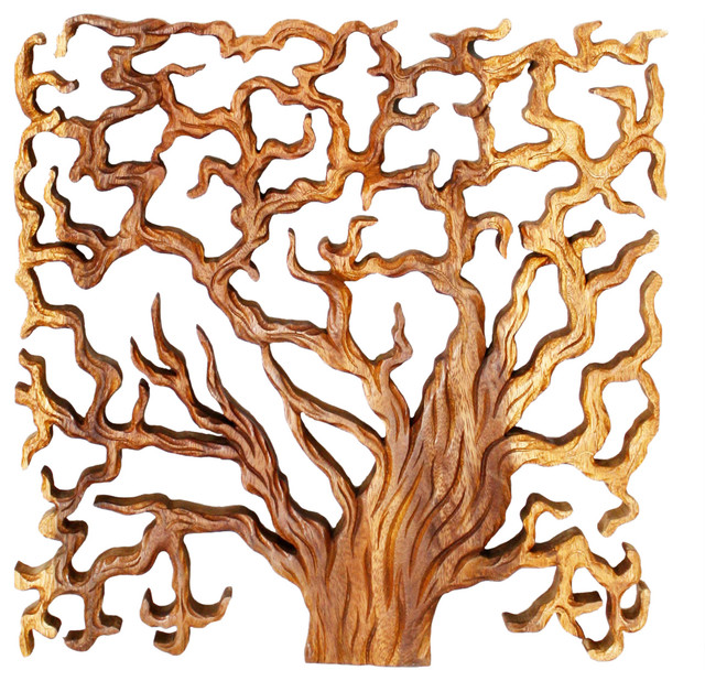 Haussmann Wood Wall Panels Tree Life Through 18 In X 18 In S 3 Oak Contemporary Wall Accents Other By Haussmann Inc